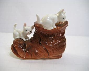 White Kittens on a Brown Boot Figurine / Vintage