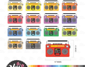 30 Colors Radio Clipart - Instant Download