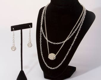 Chains & Bling, Silver Chains, Large Sparkle Rondelle, Small Sparkle Rondelles, Drop Chain Earrings,