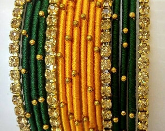Handcrafted silk thread bangles with white stones - SWS040