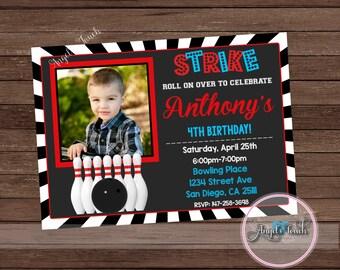 Bowling Party Invitation, Bowling Birthday Invitation, Bowling Birthday Party Invitation, Bowling Invitation, Digital File