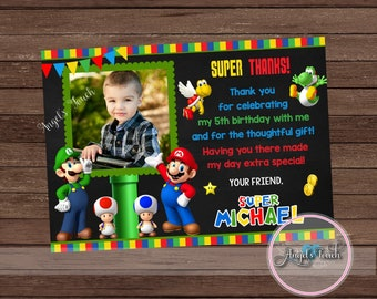 Super Mario Thank You Card with Photo, Super Mario Thank You Note, Mario and Luigi Thank You Card,  Super Mario Party, Digital File