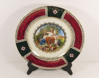 "Vintage JKW Decor Carlsbad German ""Werkstatt Josef Kuba"" Bavaria Cabinet Plate."