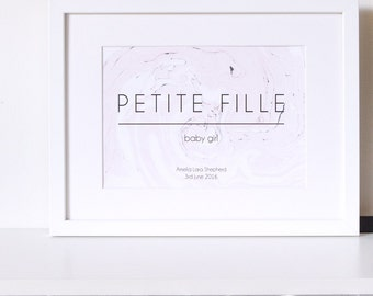 Personalised 'Petite Fille' Baby Girl Marble Print, New Baby Gift, Baby Print, Baby Gift