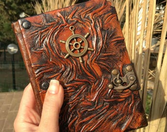 M Size Leather Journal, Leather Notebook, Sketchbook, Journal, Ship Wheel Emblem, Gift Idea