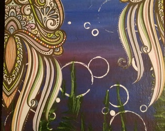 """8.5""""x11"""" Handmade ORIGINAL Acrylic and coloring book page painting of Jellyfish Fields."""