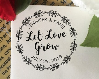 Let Love Grow Stamp, Wedding Favor Stamp, Self Inking Stamp, Wood Stamp, Custom Wedding Stamp, Personalized Stamp, Floral Wreath Leaves