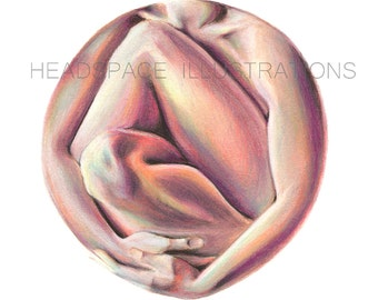 Cradle Body Sculpture Skin Beautiful Body Embrace Hug Self Love - Colored Pencil Art Print by Headspace Illustrations Headspaceillustrates