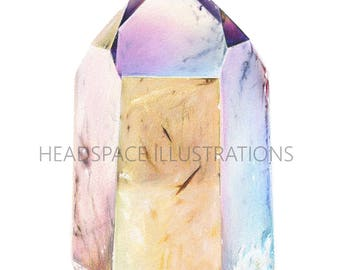 Smokey Aura Quartz Crystal - Colored Pencil Art Print by Headspace Illustrations