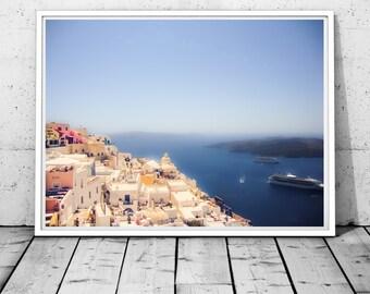 Santorini print, Santorini Wall Art, Greece Photography, Santorini canvas art, Sea print, Mediterranean Blue & white decor, Digital download