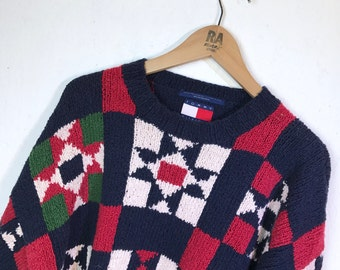 90s vintage Tommy Hilfiger Geometric Aztec Chenille Knitted Sweater Mens Large