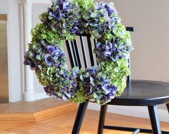 Hydrangea Wreath | Summer Wreath | Summer Wreaths for front door | Front Door Wreaths | Faux Wreaths | Silk Wreaths | Housewarming Gifts