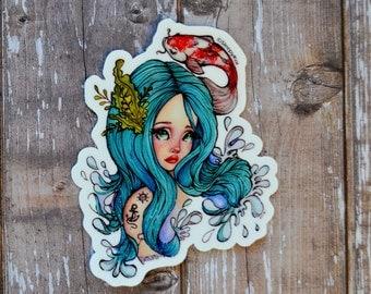 """3 Inch """"Riyo McKoi"""" Vinyl Sticker (Inspired by mermaids and koi fish)"""
