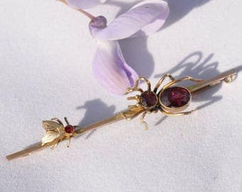 Vintage Art Deco 9 ct gold garnet spider and fly (insect) brooch. 1910s - 1930s
