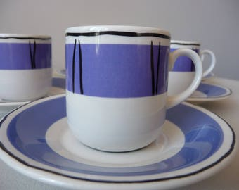 Vintage Retro Blue & White  Habitat Cappa Italy Expresso Coffee Cups Set of 6
