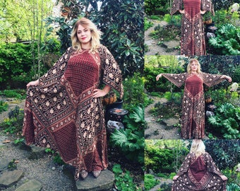 Vintage 70's Indian Cotton Block Print Angel Sleeve Caftan Dress by Adini