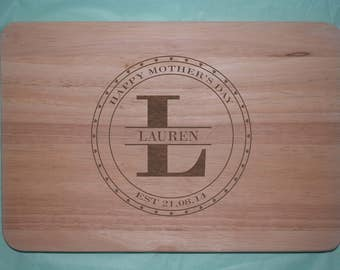 Laser engraved wooden Mother's Day Chopping board (Design 4)
