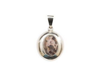 Speckled Stone Pendant, Speckled Stone, Sterling Silver Pendant with Large Bale, Brown Gray Beige Speckled Stone