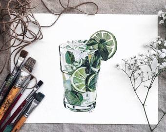 Original Watercolor Painting. Mojito Painting. Drink Illustration. Original Illustrations. Original Art. Artwork. Drink. Mixed Drinks.