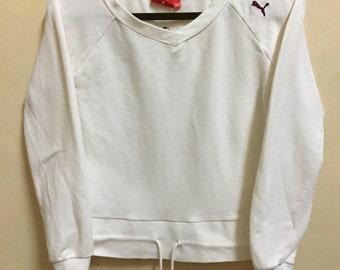 Vintage 90's Puma White Sport Classic Design Skate Sweat Shirt Sweater Varsity Jacket Size M #A698