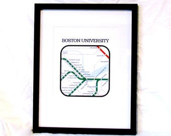 BU Neighborhood Travel Print Boston T Map Digital Wall Art Boston T Print South End Boston University Instant Download