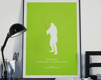 QUI-GON JINN poster, Star Wars Episode I The Phantom Menace, Liam Neeson as Jedi master/mentor, green orange poster teacher gift, lightsaber