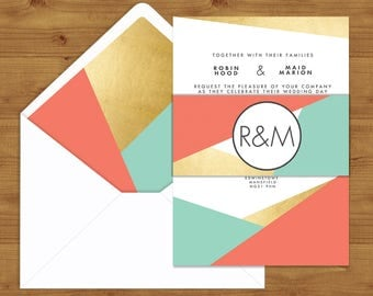 Aqua and Coral Geometric Belly Bands and Envelope Liners - Coral Wedding - Aqua Wedding - Wedding Invitation Extras - Wedding Stationery