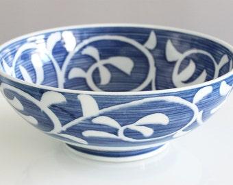 Bowl / Salad Bowl pattern Navy Blue leaf gift