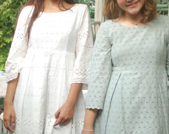 White  beach Dress, Cotton Lace Dress,vintage,Quarter sleeves,Bridesmaid Dress, Empire Dress,Retro Dress,Summer,Romantic,Garden party Dress