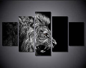 Lion black and white art print poster canvas 5 pieces