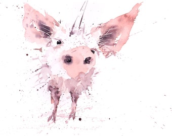 Pig No. 1 - Signed limited Edition Print from my original water colour painting