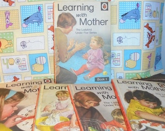 Vintage Learning w/ Mother, The Ladybird'Under Five' Series, Set of Five,1970's, Printed in England,Baby First Set of Learning Books,