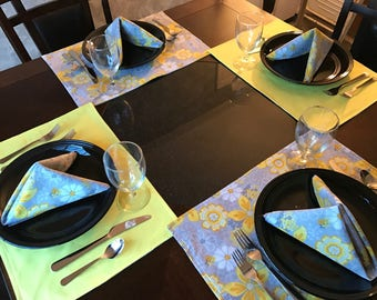 Reversible Lined Yellow and Gray Floral Placemats and Napkins, Placemats, Napkins, Kitchen Linens, Cotton, Cloth