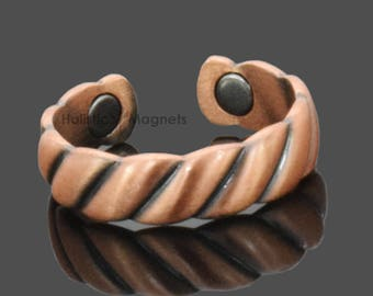 Healing Copper Ring for Women Coper Magnetic Ring Holistic Pain Relief for Arthritis Adjustable Ring Healing Jewelry Magnetic Therapy – RB