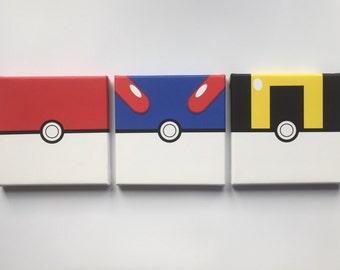 Pokemon Ball Canvas set of 3