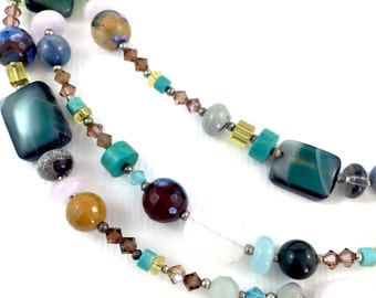 Turquoise and Earthy Tones Semi Precious Beaded Necklace