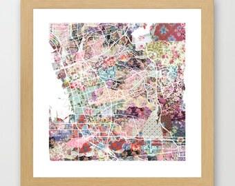 Chula Vista map CA | Chula Vista Painting | Chula Vista Art Print | Chula Vista Poster | California map | Flowers compositions