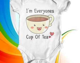 I'm Everyones Cup Of Tea Baby Bodysuit | Baby Shower Gift | Funny Baby Bodysuit | Slogan Baby Bodysuit | Cute Baby Clothes | Newborn Baby