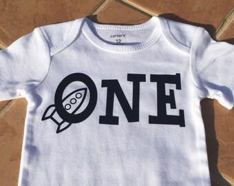 FREE SHIPPING / 1st birthday rocket onesie / 1st birthday / baby boy / space theme