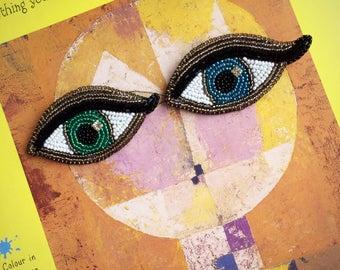 Evil eye brooch third eye jewelry Kabbalah magic gift for luck totem amulet talisman statement brooch