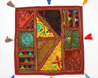 Handmade Hippie Gypsy Home Decor Ethnic Multi color Embroidered Hippy Patchwork Bohemian Pillow Shams Couch Cushion Cover Case G815