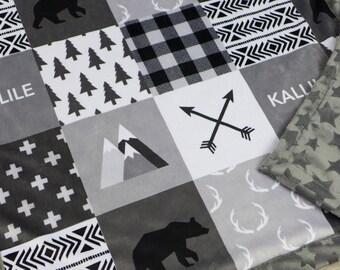 Throw blanket, baby minky blanket, child blanket, grey lumberjack blanket woodland blanket, bear cuddle blanket, baby shower gift
