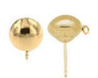 14kt. - Yellow Gold 4mm Flattened Polished Earrings with ring - 1 Pair