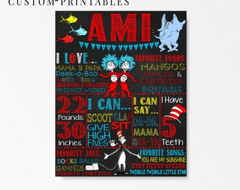 Seuss Inspired Birthday Chalkboard; Printable Digital File; Dr. Seuss Party; Cat in the Hat; Thing 1 and Thing 2; First Birthday Chalkboard
