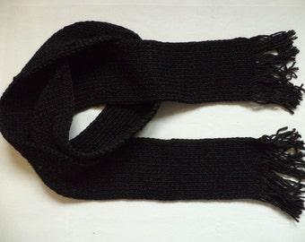 Scarf knitted Merino Wool 205 cm wool scarf wool black