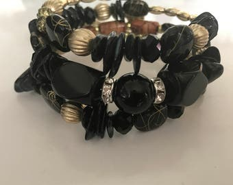Bracelet - multilayer bangle black and gold