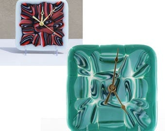 Battery Operated Wall or Desk Clock in Fused Glass | Abstract Flow Glass Art | Modern Home Decor | Unique Gifts for Him or Her