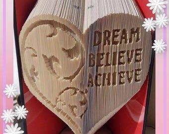 Dream Believe Achieve Heart with Swirl Book folding pattern template unusual unique gift