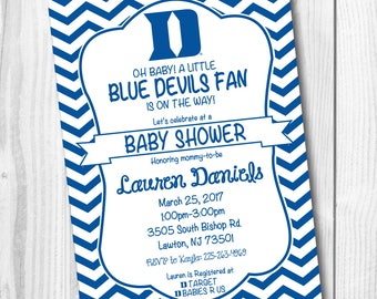 Duke Baby Shower Invitation - Duke Birthday Party - Blue Devils