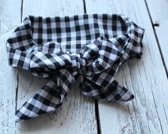 Black and White Gingham Baby Head Wrap; Black and White Plaid Head Wrap